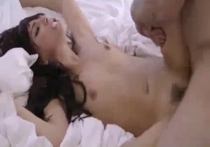 Passionate tattooed brunette enjoys doggy style incest