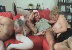 Mom, grandpa, son and daughter in the incest 4some
