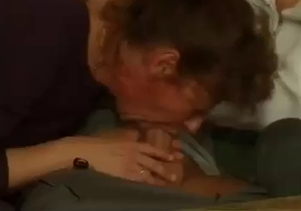 Dick-sucking mom swallows her son's dick so deep