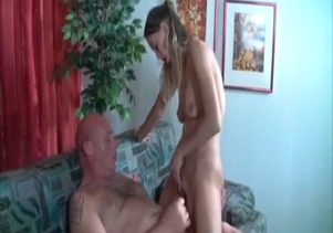 Fat dad fucks his skinny daughter
