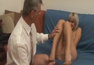 Big-boobed blonde eats her dad's hard prick